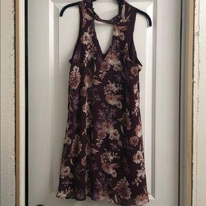 Francesca's burgandy floral A line Dress